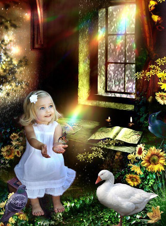 petite fille aux animaux